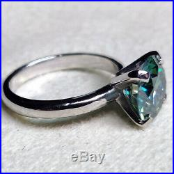 2CT Round Cut Green Blue Moissanite Engagement Ring Solid 925 Sterling Silver