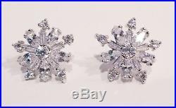 2Ct Baguette VVS1/D Diamond Snowflake Stud Earrings Solid 14K White Gold Finish