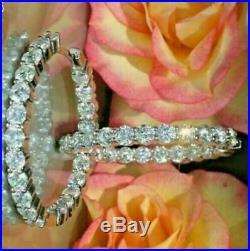 2Ct Round Cut VVS1/D Diamond Huggie Hoop Earrings Solid 14k White Gold Finish