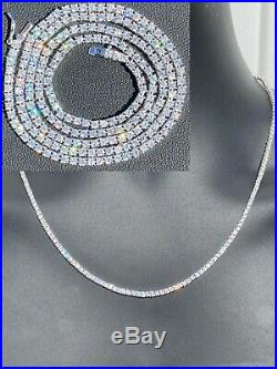 2mm SOLID 925 Sterling Silver Micro Tennis Chain Real Iced Diamond Necklace Gold