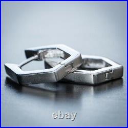 2pc Elegant Solid 925 Sterling Silver Octagon Huggie Hoop Earrings For Men