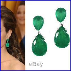 3.00 CT Green Emerald Solid 925 Sterling Silver Tear Drop Earrings For Women's