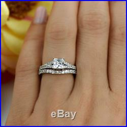 3.00 Ct Princess Cut 14k Solid White Gold Fn Bridal Set Engagement Wedding Ring