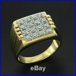 3.00 Ctw Round Cut Diamond Solid 14k Yellow Gold Over Men's Pinky Fashion Ring
