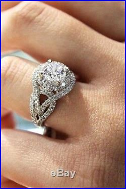 3 1/2 CT Halo Round Cut Diamond Bridal Engagement Ring Solid 10K White Gold Over