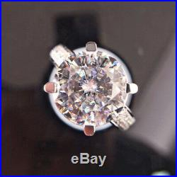 3.20 Ct Diamond Round Cut Solid 14K White Gold Over Engagement Wedding Ring