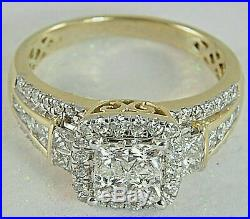 3.24ct Princess cut Invisible Diamond Engagement Ring Solid 14K Yellow Gold Over