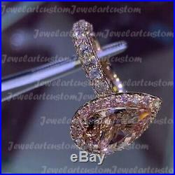 3.45 Ct Pear Cut Morganite Halo Engagement Ring Solid 14k Rose Gold Over