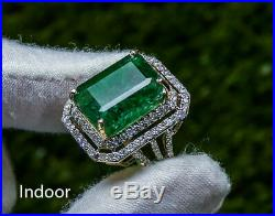 3.50 Ct Emerald Diamond Estate Engagement Ring Solid 14K White Gold Over