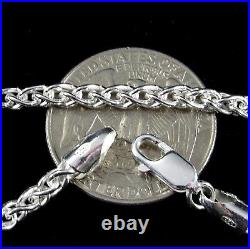 3.5MM Solid 925 Sterling Silver Italian SPIGA WHEAT CHAIN Necklace Made In Italy