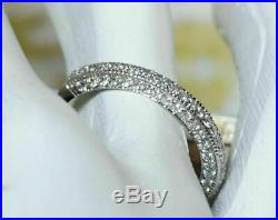 3 ct Round Diamond Womens Engagement Wedding Band Ring Solid 14k White Gold Over