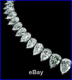 30 Ct Pear Cut Brilliant Diamond Tennis Necklaces Solid 14K White Gold Over
