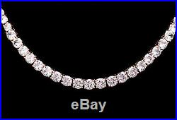 35TCW Graduated Created Diamond Tennis Necklace Solid 925 Sterling Silver Chain