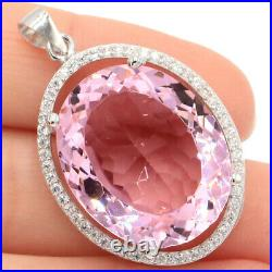 35x23mm Big Gemstone 12g 22x18mm Pink Kunzite 925 Solid Sterling Silver Pendant