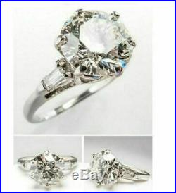 3Ct Excellent Round Cut White Moissanite Engagement Ring Solid 14K White Gold Fn