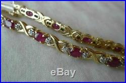 4 CT Oval Cut Ruby 14k Solid Yellow Gold Over Diamond Tennis 7 Women's Bracelet