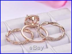 4Ct Cushion-Cut Morganite Trio Set Halo Engagement Ring Solid 14K Rose Gold FN