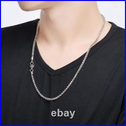 4MM Men's Real Solid 925 Sterling Silver Necklaces Braided Twist Chain 18-26
