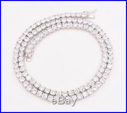 4mm Round Cut CZ Tennis Chain Necklace Real Solid Sterling Silver ANTI TARNISH