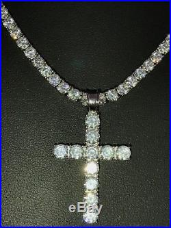 4mm Single Row Tennis Chain W. Cross Solid 925 Sterling Silver 80ct Lab Diamond