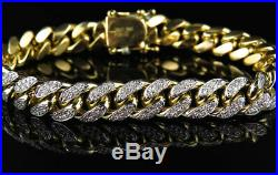 5 Ct Round Cut Diamond Miami Curb Cuban Link Bracelet 14K Solid Yellow Gold Over