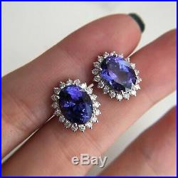 5Ct Oval Cut Tanzanite Push Back Halo Stud Earrings Solid 14K White Gold Finish