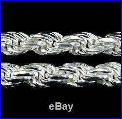 5MM Solid 925 Sterling Silver DIAMOND CUT ROPE CHAIN Bracelet or Necklace Italy
