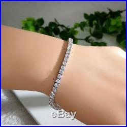 6.00 Ct Round Cut VVS1/D Diamond Women Tennis Bracelet Solid 14k White Gold Over