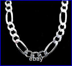 6MM Solid 925 Sterling Silver Italian Men's FIGARO Chain Necklace Made In Italy
