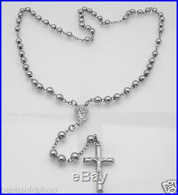 6mm 24 Anti-Tarnish Solid Rosary Cross Chain Necklace Real 925 Sterling Silver