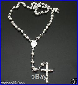 6mm 24 Italian Solid Rosary Cross Chain Necklace Real 925 Sterling Silver