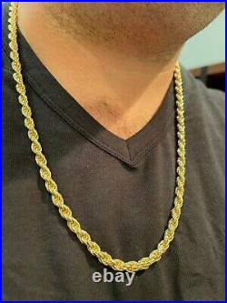 6mm Thick Men's Rope Chain 14k Gold Over Real Solid 925 Sterling Silver Necklace