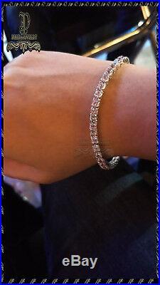 7CT D/VVS1 Solid 10K White Gold Over Round Cut Classic Tennis 7.5 Bracelet