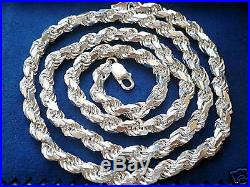 7mm 925 STERLING SILVER MEN'S SOLID DIAMOND CUT ROPE CHAIN NECKLACE 20- 24