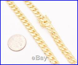 7mm Miami Cuban Chain Necklace Solid 14K Yellow Gold Clad Silver Box Lock Italy