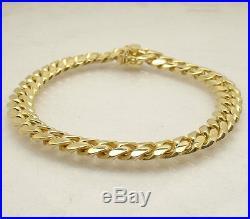 8.5 Italian Solid Miami Cuban Bracelet Double Lock 14K Yellow Gold Clad Silver