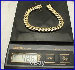 8.5 Solid Italian Miami Cuban Bracelet Double Lock 14K Yellow Gold Clad Silver