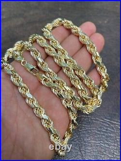 8mm Thick Men's Rope Chain 14k Gold Over Real Solid 925 Sterling Silver Necklace