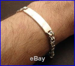 9 Mens 8mm Solid Miami Cuban Curb Chain ID Bracelet Real 925 Sterling Silver