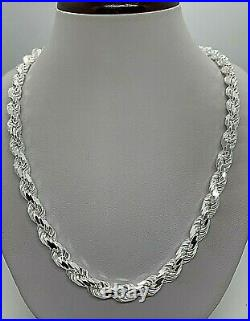 925 Solid Sterling Silver Handmade Rope Chain/Necklace Men's 7mm 20-30