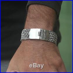 925 Solid Sterling Silver Men Large Braid Bracelet Heavy Wide Size 7.5 8 9 9.5 +