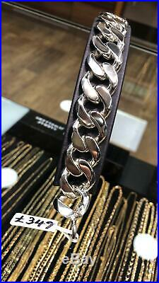 925 Sterling SILVER MEN'S CURB BRACELET CHAIN 20MM 123GR SOLID HEAVY BRAND NEW