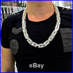 925 Sterling Silver Cubic Bali Byzantine Kings Chain Necklace Solid Heavy Thick