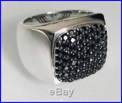 925 Sterling Silver David Yurman Solid Black Round Cut Diamond Signet Mens Ring