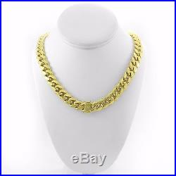 925 Sterling Silver Gold Plated Solid Miami Cuban Link Box Lock Chain 8mm-12mm