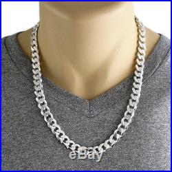 925 Sterling Silver Men's Solid Cuban Curb Chain Necklace 11mm (300 Gauge)