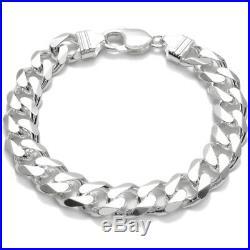 925 Sterling Silver Men's Solid Cuban Curb Link Chain Bracelet 11mm (300 Gauge)