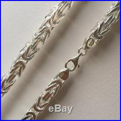 925 Sterling Silver Mens Byzantine Kings Necklace Chain Solid 5mm 20 Inch 64GR