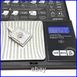 925 Sterling Silver Mens CZ Stone Set Safe Solid Pendant Iced Out Hip Hop Rare