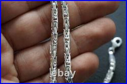 925 Sterling Silver Mens Necklace Round Bali Byzantine Kings Chain solid